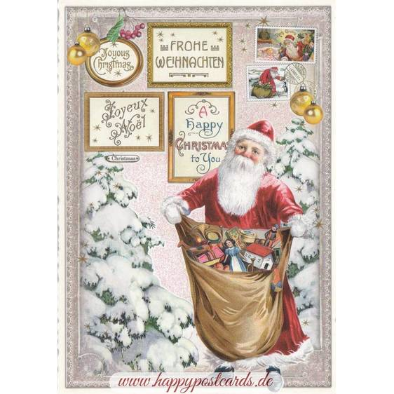 Happy Christmas: Santa with presents - Tausendschön - Postcard