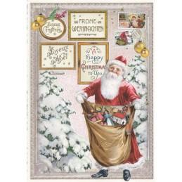 Frohe Weihnachten: Weihnachtsmann mit Geschenken - Tausendschön - Weihnachtskarte