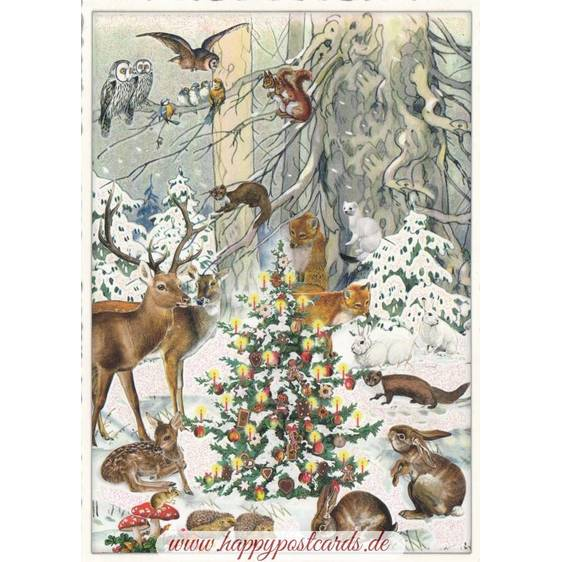 Christmas of the animals - Tausendschön - Postcard