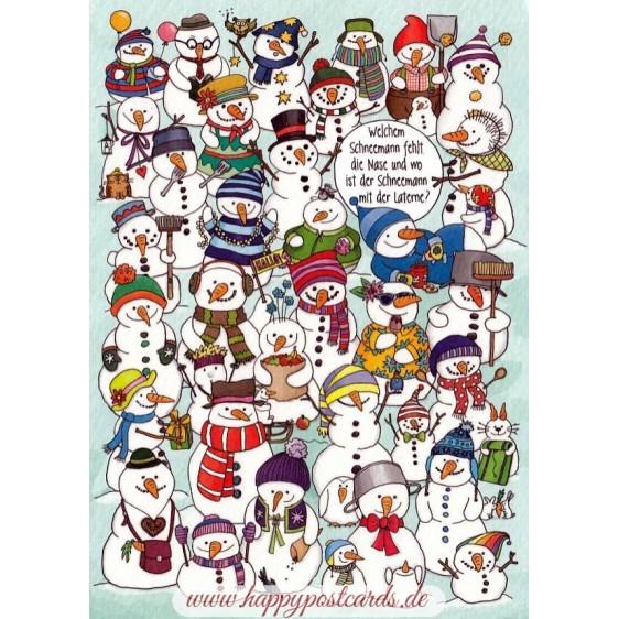 Welchem Weihnachtsmann fehlt die Nase und wo ist der Schneemann mit der Laterne? - Christmas Postcard