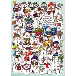 Welchem Weihnachtsmann fehlt die Nase und wo ist der Schneemann mit der Laterne? - Weihnachtskarte