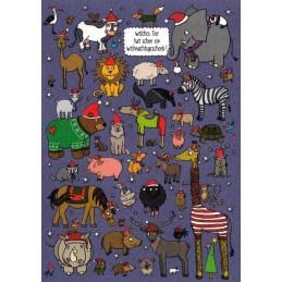 Welches Tier hat schon ein Weihnachtsgeschenk? - Christmas Postcard