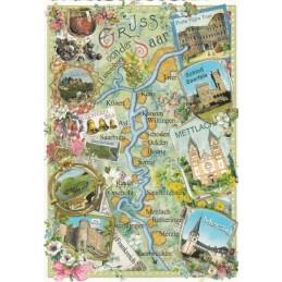 Saar - Map - Tausendschön - Postkarte