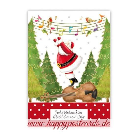 Frohe Weihnachten - Santa on violine