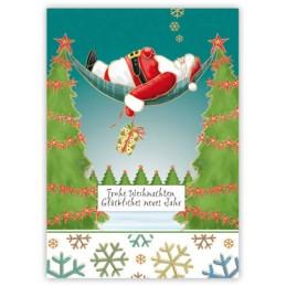 Frohe Weihnachten - Nikolaus in Hängematte - Quire Weihnachtskarte