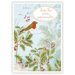 Frohes Fest - Vögelchen - Quire Weihnachtskarte
