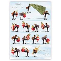 Frohe Weihnachten - Pinguine - Quire Weihnachtskarte