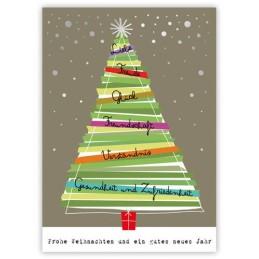 Weihnachtsbaum mit Wünschen - Quire Weihnachtskarte