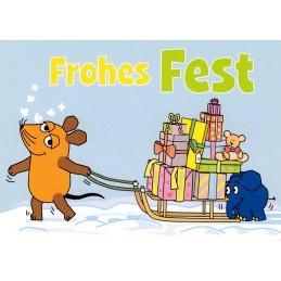 Frohes Fest- Maus zieht Geschenke - Maus - Postkarte