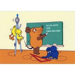Alles Gute zur Einschulung - Maus-Postkarte