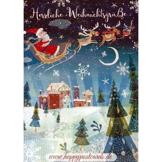 Herzliche Weihnachtsgrüße - Nikolaus mit Schlitten - Weihnachtskarte