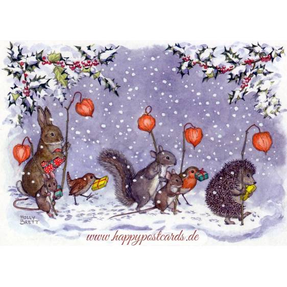 Animals with Chinese Lanterns - Christmas - Postcard