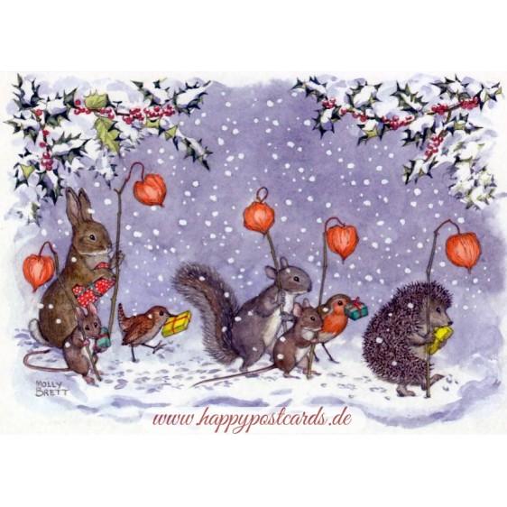 Tiere mit chinesischen Laternen - Weihnachtskarte