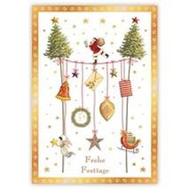 Frohe Festtage - Santa on rope - Quire Christmascard
