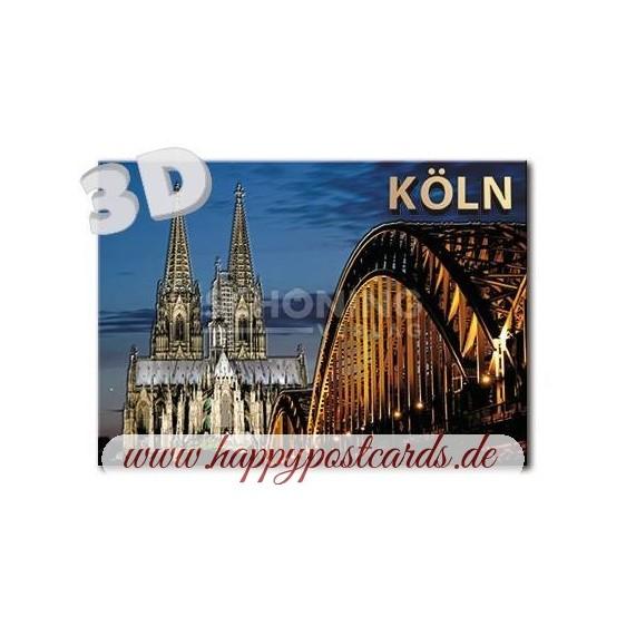 3D Cologne - Night - 3D Postcard