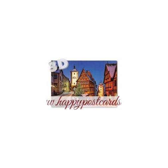 3D Rothenburg o. d. Tauber - Plönlein -  3D Postkarte