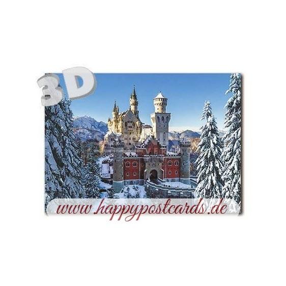 3D Neuschwanstein - Winter - 3D Postcard