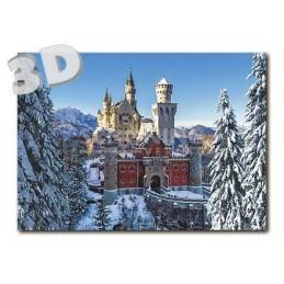 3D Neuschwanstein - Winter -  3D Postkarte