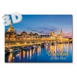 3D Dresden - Elbe bei Nacht -  3D Postkarte