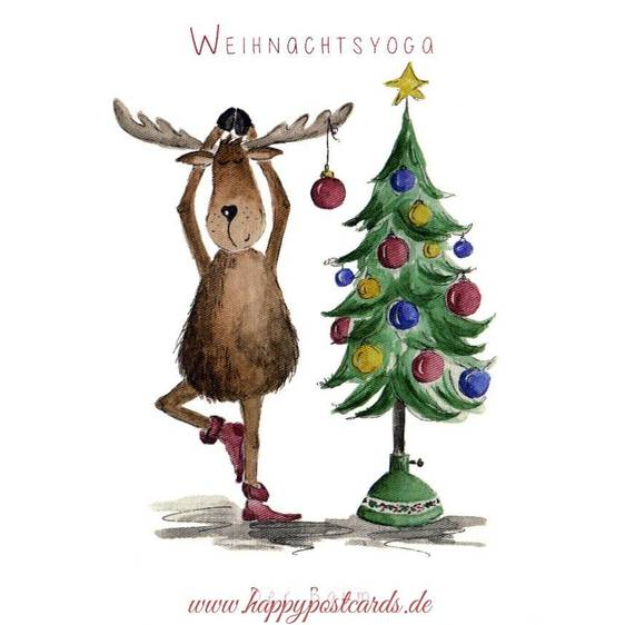 Christmasyoga - The Tree - Christmas Postcard