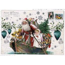 Weihnachtsmann im Boot - Tausendschön - Weihnachtskarte
