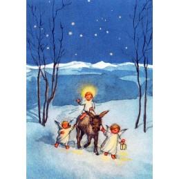 Engelchen mit Esel im Schnee - Weihnachtskarte