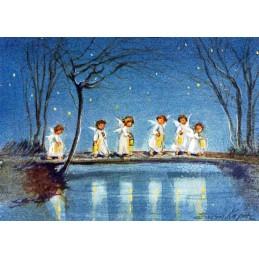 Sechs Engel mit Laternen - Weihnachtskarte