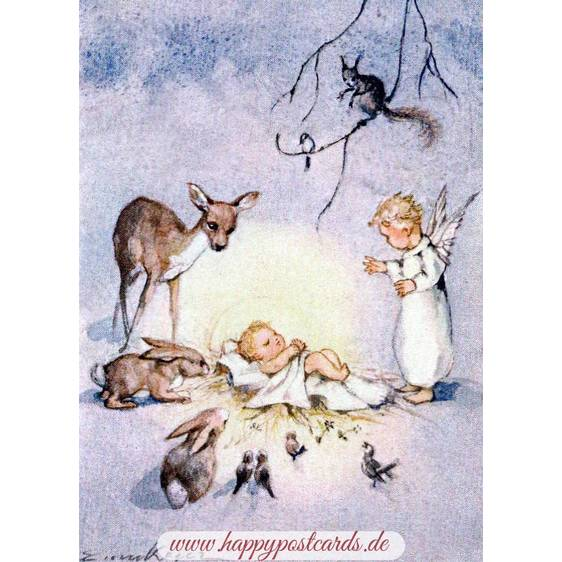 Christ Child, surrounded by forest animals and an angel - Postcard