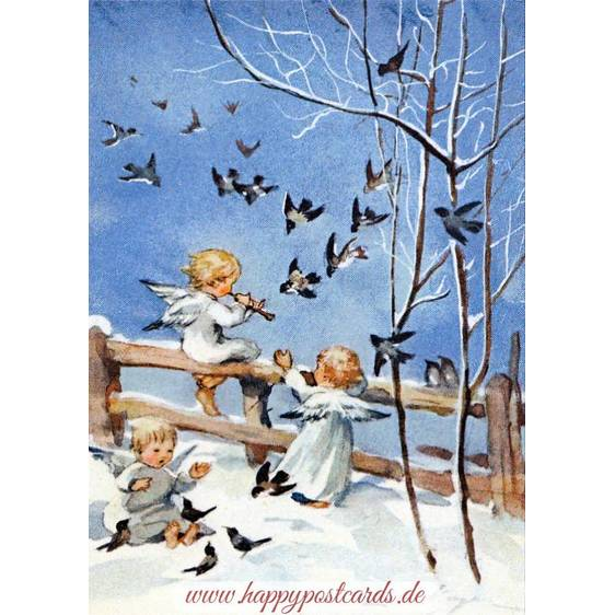 Three angels making music - Postcard