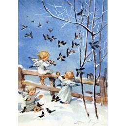 Drei Engel musizieren - Weihnachtskarte