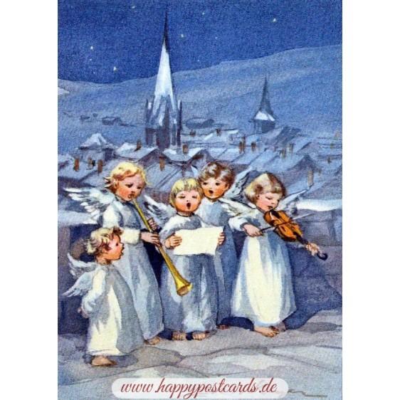 Five angels making music - Postcard