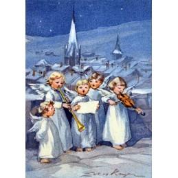 Fünf musizierende Engel - Weihnachtskarte