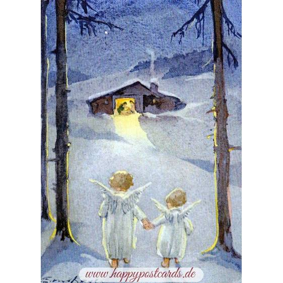 Two Angels on their way to the manger - Postcard