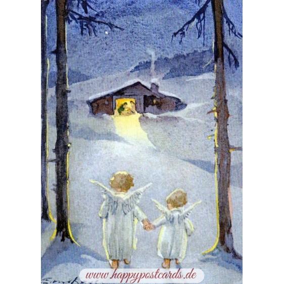 Zwei Engel auf dem Weg zur Krippe - Weihnachtskarte