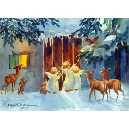 Engel gucken in den Stall - Weihnachtskarte