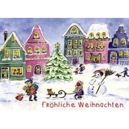 Fröhliche Weihnachten - Winter Village - Christmas Postcard
