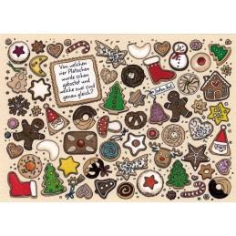 Von welchen vier Plätzchen wurde schon gekostet und welche zwei sind genau gleich? - Christmas Postcard
