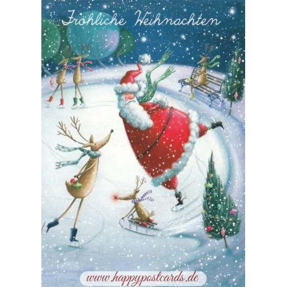 Fröhliche Weihnachten - Skating - Christmas - Postcard