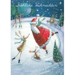 Fröhliche Weihnachten - Schlittschuhlauf - Weihnachtskarte