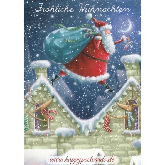 Fröhliche Weihnachten - Over the roofs - Christmas - Postcard