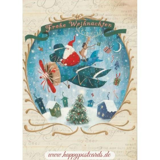 Frohe Weihnachten - Plane - Christmas - Postcard