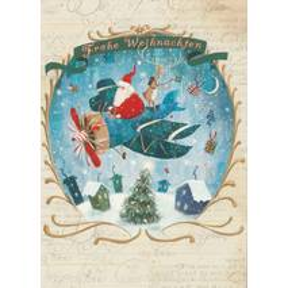 Frohe Weihnachten - Flugzeug - Weihnachtskarte