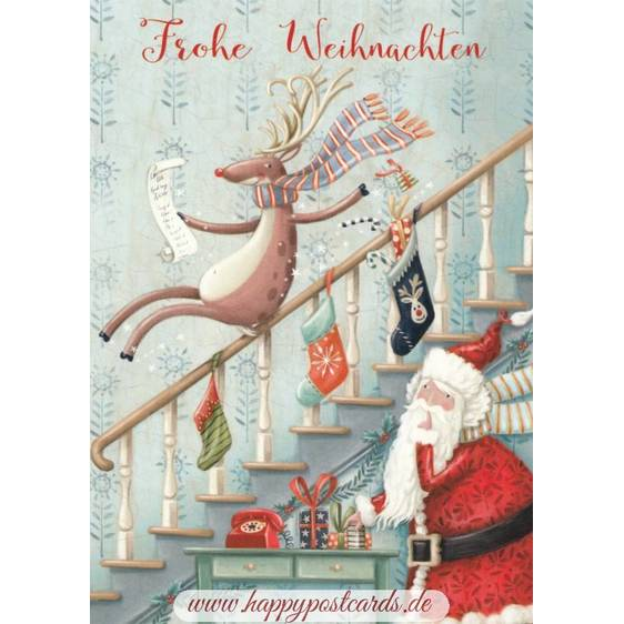 Frohe Weihnachten - Stairs - Christmas - Postcard