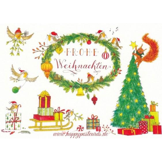 Frohe Weihnachten - Schlitten mit Geschenken - de Waard Postkarte