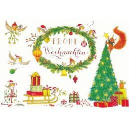 Frohe Weihnachten - Sledge with presents - de Waard postcard