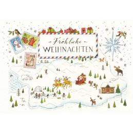 Fröhliche Weihnachten - Winterszene - de Waard Postkarte