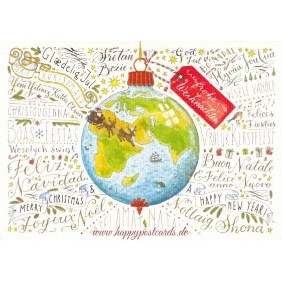 Frohe Weihnachten - Languages of the World - de Waard postcard