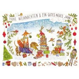Frohe Weihnachten - Geschenke und Tiere - de Waard Postkarte