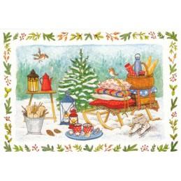Picknick in winter - de Waard postcard