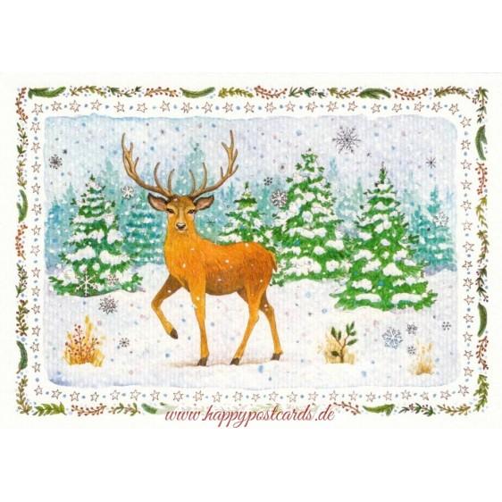Deer in winter - de Waard postcard